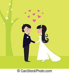 wedding:, udendørs, natur, par, ægteskab, garden