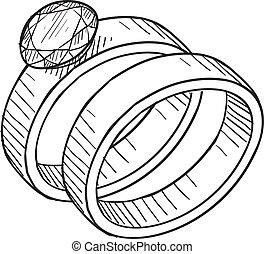 wedding, und, verlobungsring, skizze