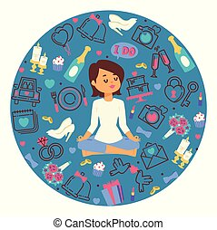 Wedding vector illustration. Bride meditating in lotus pose. Woman doing yoga and getting calm. Accessories for celebration. Cake, engagement rings, champagne, camera, flowers.