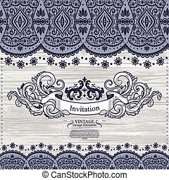 Wedding vector Invitation with lace decoration