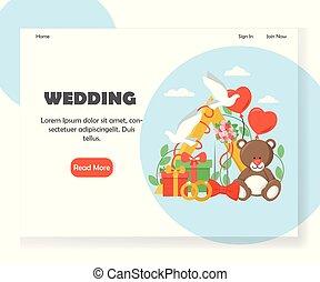 Wedding vector website landing page design template