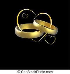 wedding vector - wedding rings and hearts vector isolated on...