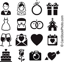 wedding, vektor, icons., illustrations.