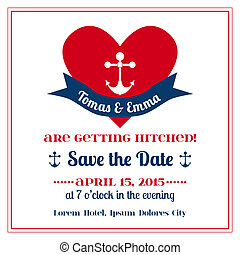 Wedding Vintage Invitation Card - Anchor with Heart - in vector