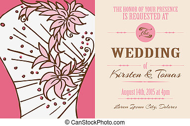 Wedding Vintage Invitation Card - for design, scrapbook - in vector