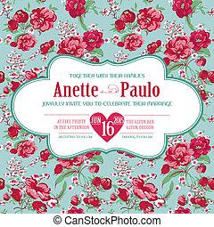 Wedding Vintage Invitation Card with Floral Pattern - in vector