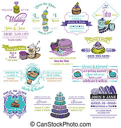 Wedding Vintage Invitation Collection - Dessert and Macaroon Theme - in vector