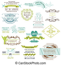 Wedding Vintage Invitation Collection - for design, scrapbook - in vector