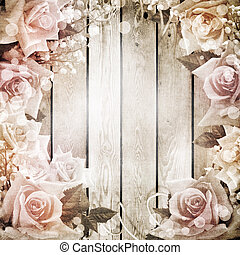 Wedding vintage romantic background with roses