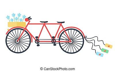 Wedding Vintage tandem bicycle vector icon llustration isolated. Elegant style design.