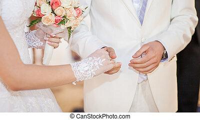 wedding vow - The beautiful bride stylish summer fun smile...