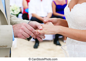 Wedding vows - Close-up of a couple exchanging wedding rings...