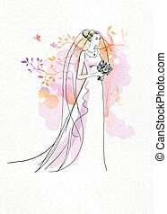 Wedding watercolor art with bride