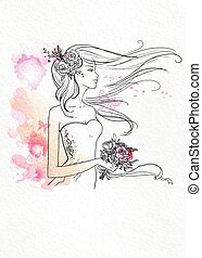 Wedding watercolor background with bride