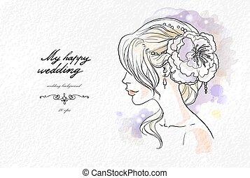 Wedding watercolor portrait of the bride