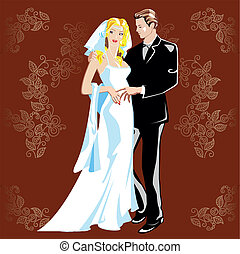 Wedding portrait. The bride and groom background floral ornament.
