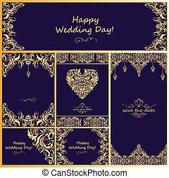 wedding, weinlese, goldenes, design