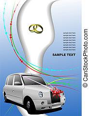 Wedding white car. Vector illustration