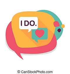 wedding yes i do words flat icon with long shadow,eps10