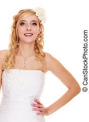 Wedding. Young attractive romantic bride woman