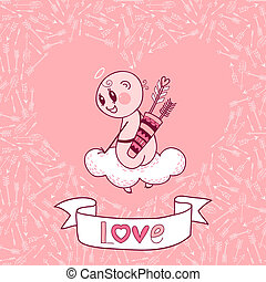 Valentine's Day card with a cute Cupid