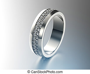 Weddingt Ring with Diamond. Fashion Jewelry background