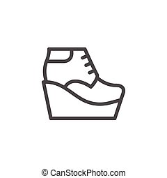 Wedge boot line icon isolated on white. Vector illustration