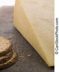 Wedge of Mature Cheddar with Oatmeal Biscuits
