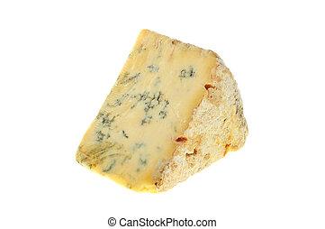 Stilton cheese - Wedge of Stilton cheese isolated against...