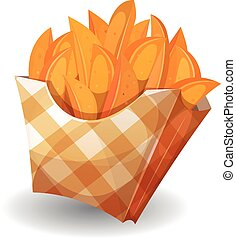 Illustration of cartoon wedge potatoes character with yellow striped carton package, for snack restaurant and takeaway food