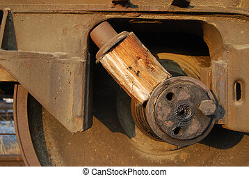 Wedged railway wheel close-up