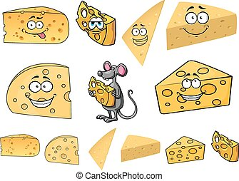 Wedges of happy cartoon cheese with a mouse