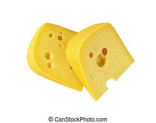 wedges of yellow cheese with eyes - two wedges of Swiss ...