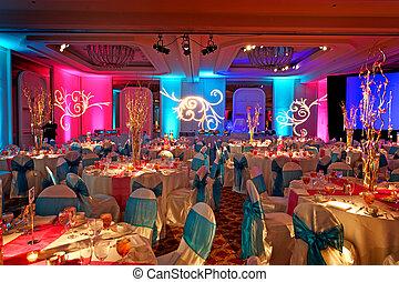 weding, indiano, decorato, sala ballo