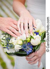 weding, spento, esposizione, loro, anelli, matrimonio, recentemente, coppia
