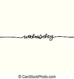 Wednesday, day of the week in a continuous line, on a white background. - Vector