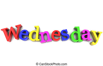Wednesday, day of the week multicolored over white Background