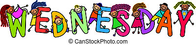 Wednesday Kids - A group of happy stick children climbing...