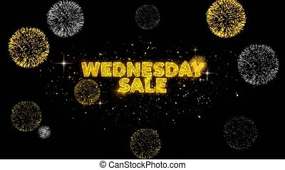 Wednesday Sale Text Reveal on Glitter Golden Particles Firework. Sale, Discount Price, Off Deals, Offer promotion offer percent discount ads 4K Loop Animation.