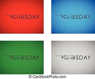 wednesday to thursday turning text set