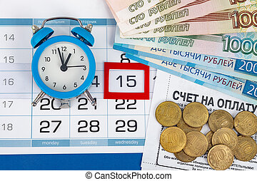 Wednesday's 15th, clock, Russian banknotes and coins