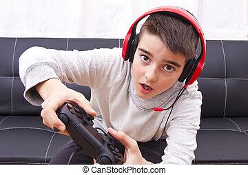 wedstrijd console, spelend, kind