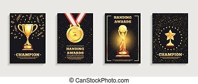 wedstrijdbeker, affiches, set, toewijzen, goud