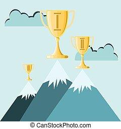 wedstrijdbeker, boven op, hoog, de piek van de berg, handel...