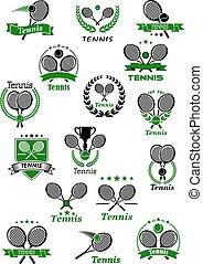 wedstrijdbeker, gelul, emblems, tennis rackets