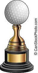 wedstrijdbeker, golf, goud, -, base, black