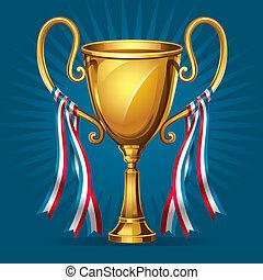 wedstrijdbeker, gouden, toewijzen, ribbon.