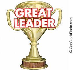 wedstrijdbeker, groot, prijs, superviser, toewijzen, baas, directeur, illustratie, leider, 3d