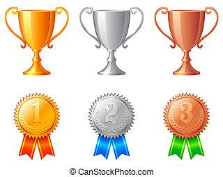 wedstrijdbeker, koppen, en, medals.