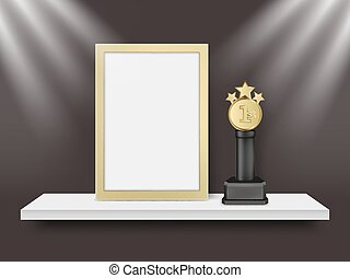 wedstrijdbeker, licht, frame, metaal, toewijzen, realistisch, vector, illustratie, leeg